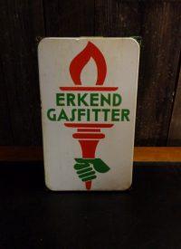 Emaillen reclamebord Erkend Gasfitter