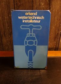 Emaillen reclamebord Erkend watertechnisch Installateur